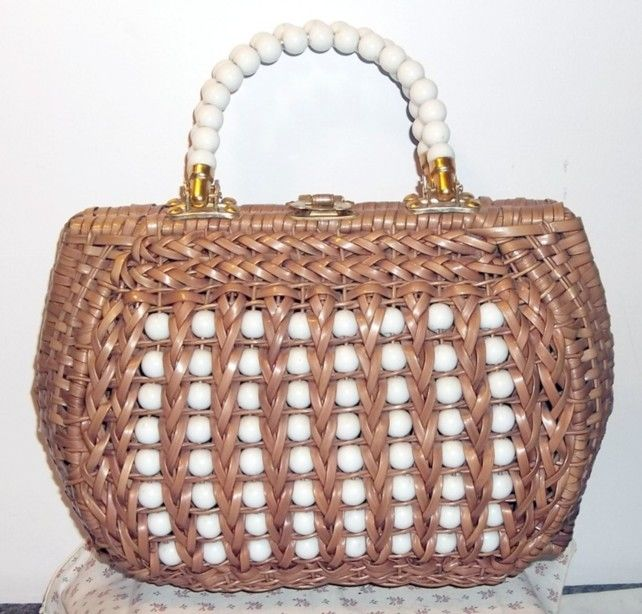 Beaded wicker purse